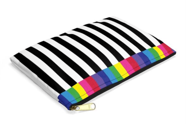 Black and White Striped Pouch Bag